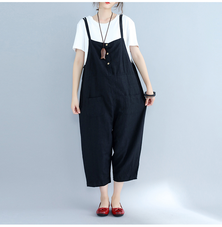 Womens Jumpsuit 2018 Spring Summer Women Plus Size Jumpsuits High Street Overalls Black Large Size Wide Leg Woman Rompers MS66