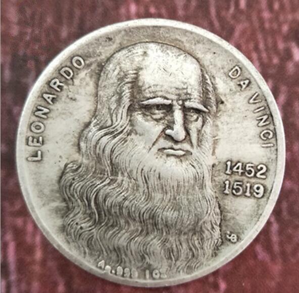 Itália da vinci feito antigo branco cobre moedas de prata estrangeira coleção de dólar de prata moedas antigas