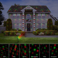 Remote 12 Patterns Red Green Christmas Lights Garden Laser Projector Outdoor Waterproof Xmas Tree Holiday Party