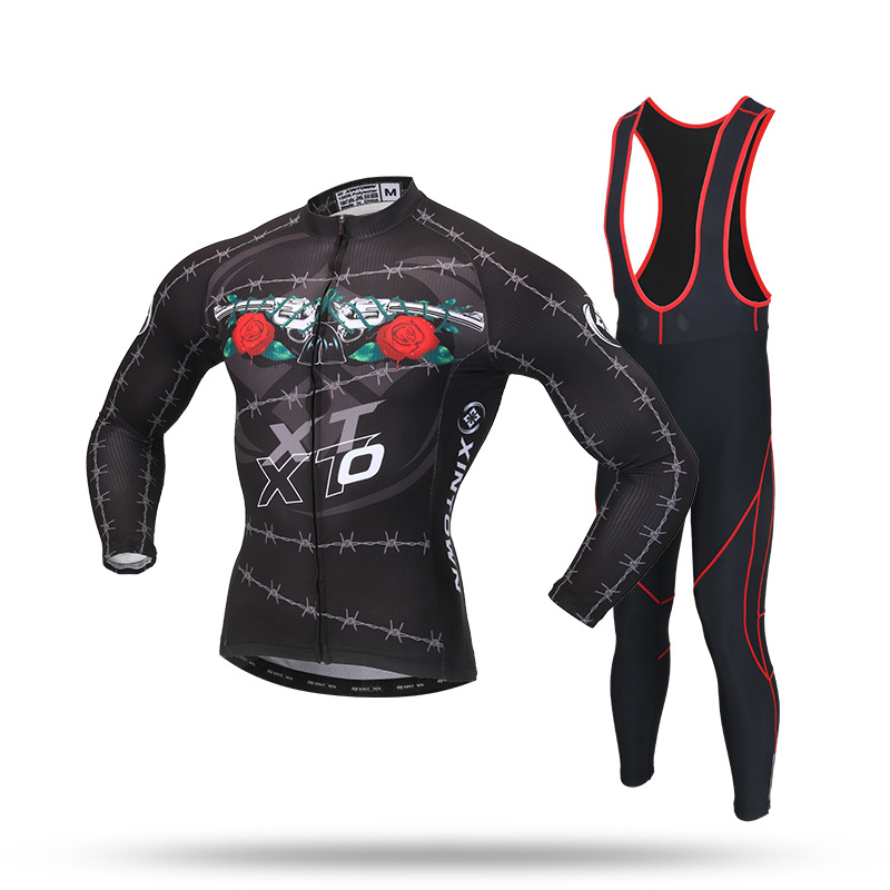 XINTOWN Men Black Cycling Suit Set Long Sleeve Jersey and Bib Pants with GEL Pad for Spring Autumn Bike Bicycle Riding Clothing
