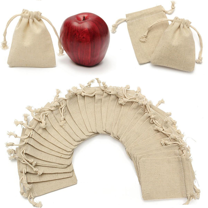 30pcs/set Linen Drawstring Bag Wedding Gift Pouch Bags Birthday Party Favor Holder Makeup Jewelry Packaging Pouch Bags Shellhard