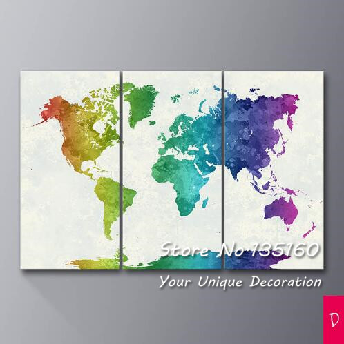 Watercolor world map canvas print large wall art picture abstract watercolor world map canvas print large wall art picture abstract colorful splash maps decor poster decoration painting no frame in painting calligraphy gumiabroncs Gallery