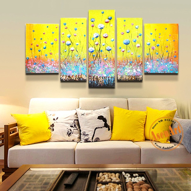 5pcs 100% Hand Painted Abstract Flower Oil Painting Colorful ...