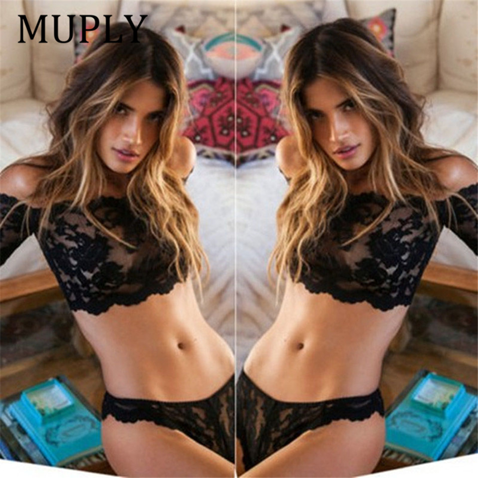 MUPLY 2019 New Sexy Lingerie Set Hot Black Rose Lace One Word Shoulder Perspective Erotic Underwear Sexy Thongs Sexy Costumes in Lingerie Sets from Novelty Special Use
