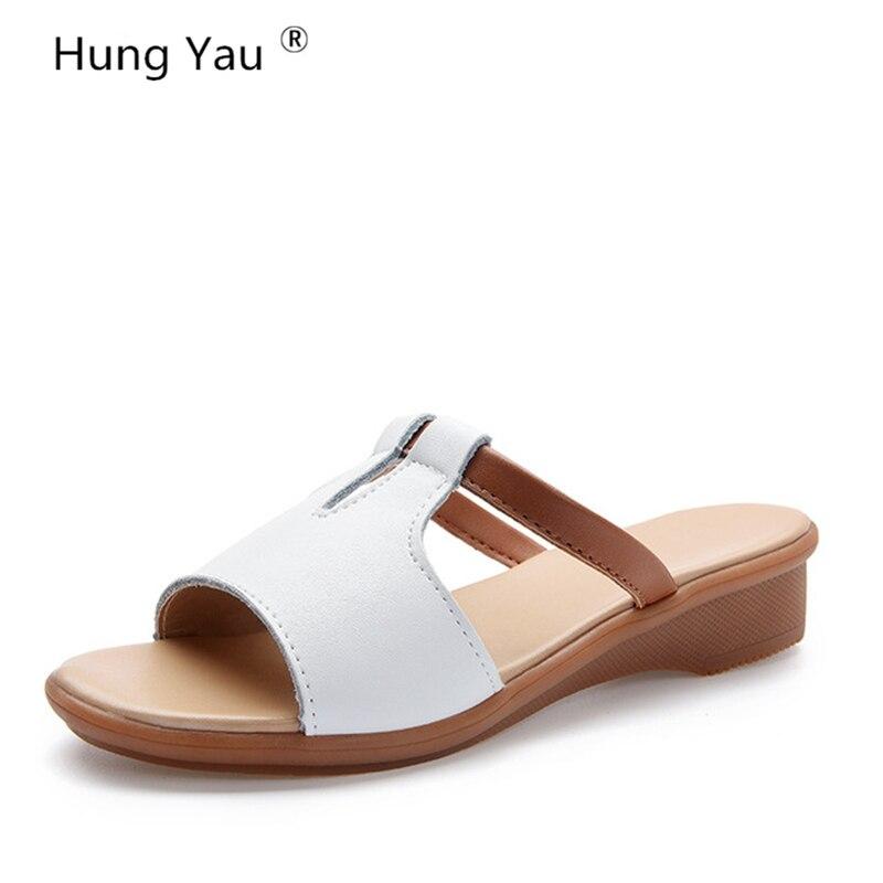 Женские босоножки обувь из натуральной кожи женские летние стильные вьетнамки на танкетке модные женские шлепанцы на платформе большие размеры 10 женская обувь купить на AliExpress