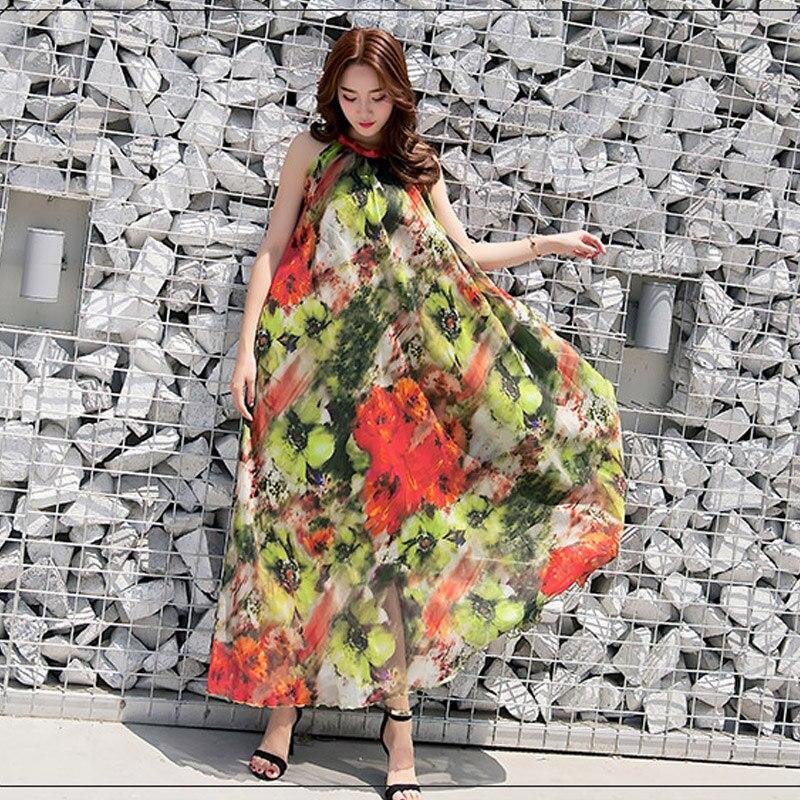 Bohême Sans Confortable Vacances De Nouveau Pleine D'été Longue Manches Flowy Mousseline Soie Robe 2019 Floral Léger Maxi Pw0O8nkX