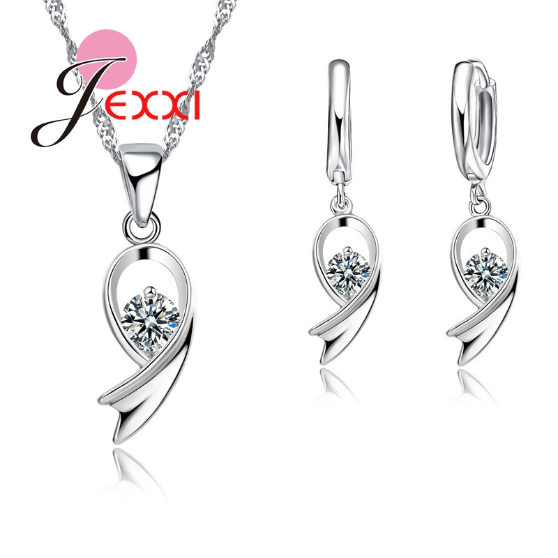 Jemmin Classic Design 925 Sterling Silver Bridal Wedding Jewelry Sets Cubic Zirconia Stone Pendant Necklace Earrings for Women