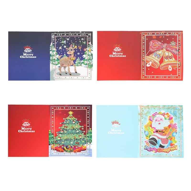 5D DIY tarjeta de Navidad con diamantes de imitaci/ón tarjeta de regalo Pap/á Noel Postal Cartoon papel tarjeta de felicitaci/ón Tarjeta de Acci/ón de Gracias Flash taladrar Feliz Navidad Regalo Especial