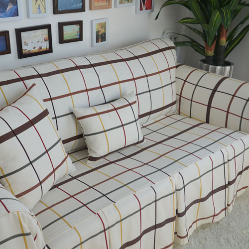 American Country Style White Pink Plaid Decorative Sofa Cover Loveseat Chair Funiture Double Seat Home Textile In From