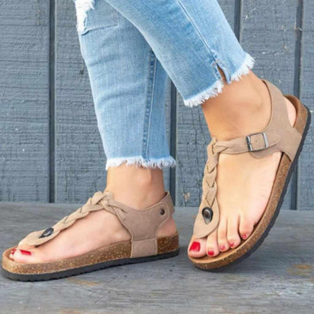 Sagace Schoenen Nieuwe Mode Eenvoudige Vrouwen Meisje Rome Slippers Zomer Print T-Strap Platte Sandalen Open Teen Sandalen mujer May14