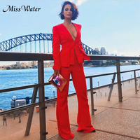 Miss Water 2018 New Women Solid Red Suit Full Length Trousers Deep V Neck Sexy Single Button Elegant Celebrity Evening Suits