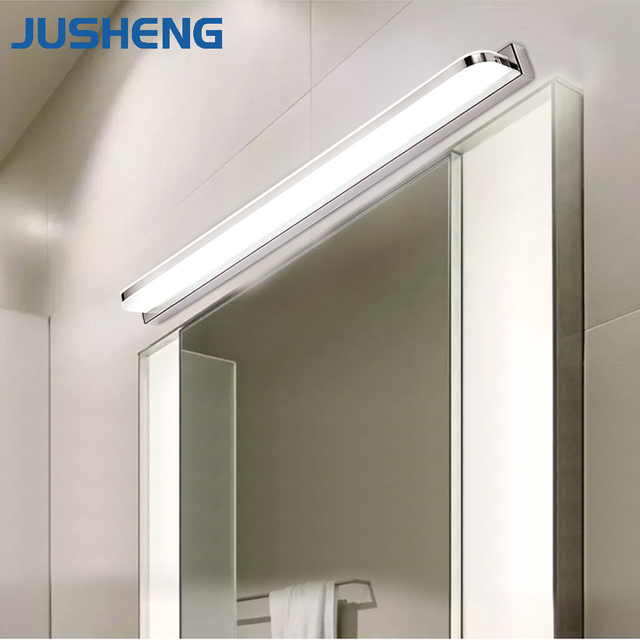 JUSHENG Modern Linear LED Mirror Lights In Bathroom Wall Mounted Light Indoor Sconces Fixtures