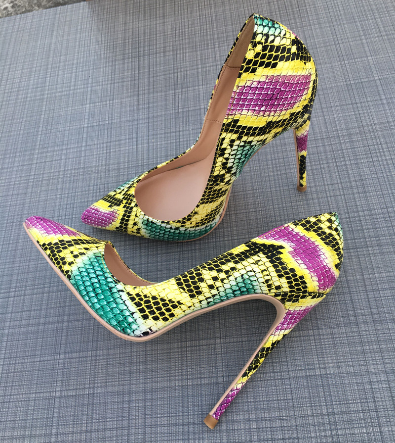 Chaussures Hauts Femmes Sexy 12 Partie Bout Talons De Serpent Pour Pointu Cm Mariée Multi cqEEXT1w