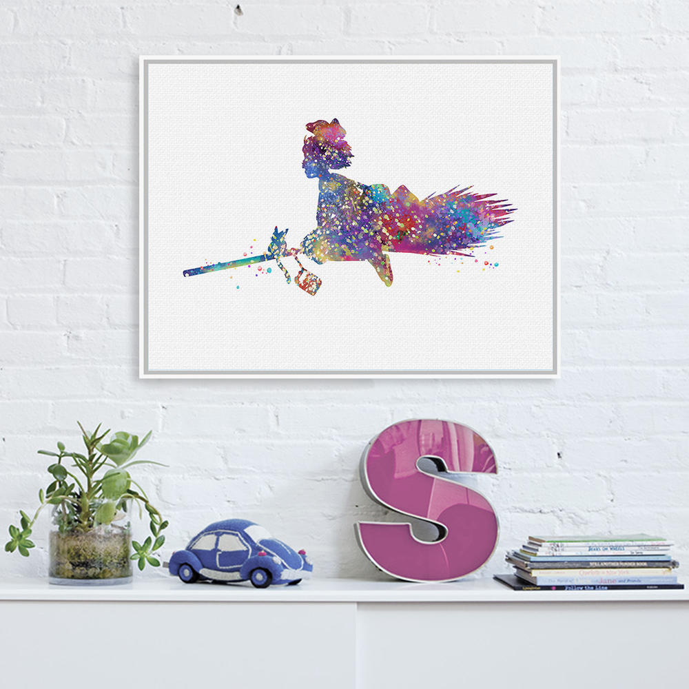 Poster design and printing online - Original Watercolor Delivery Service Miyazaki Japanese Anime Movie Poster Print Abstract Wall Art Canvas Painting No Frame Gifts