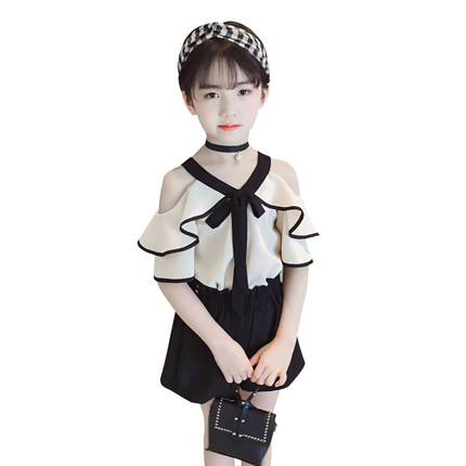 Girls Clothes 2018 New Summer Toddler Girl Chiffon Off Shoulder Shirt Top+Shorts Suits Kids Clothing 2pcs Children Clothing Set