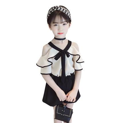 Girls Clothes 2018 New Summer Toddler Girl Chiffon Off Shoulder Shirt Top+Shorts Suits K ...