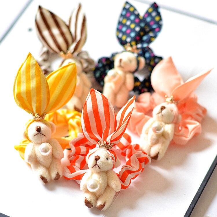 35pcs Fashion Cute Crown Bear Elastic Hairbands Solid Rabbit Ears Animal Hair Ties Princess Headwear Girls Hair Accessories