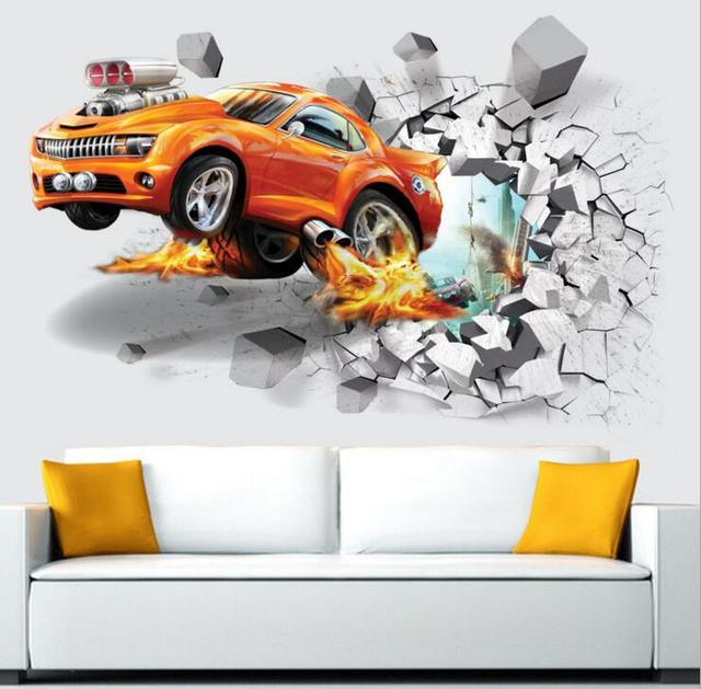 Car football soccer ball through the wall stickers tv background removable living room bedroom wall