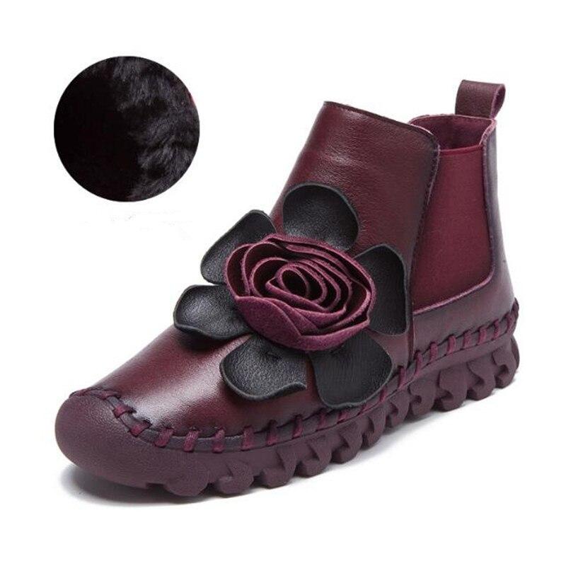 bff0d8735d3b6d Plat De Noir Casual Plus Vache Couleur Cuir Bottes Femme yellow purple En  Dames Chaussures Red Nouvelles Velours Fleur ...
