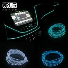 JURUS 2 шт. 1 м/2 м/3 м автомобильный неоновый светильник светящаяся линия El Wire авто аксессуары для подсветки в салоне 12 В интерьерные огни Светодиодная лента