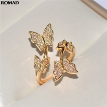 Higt Quality Butterfly Design Resizable Rings with AAAAA Zircon Bling Stone Women Fashion PartyJewelry Best Gift 2019 A40