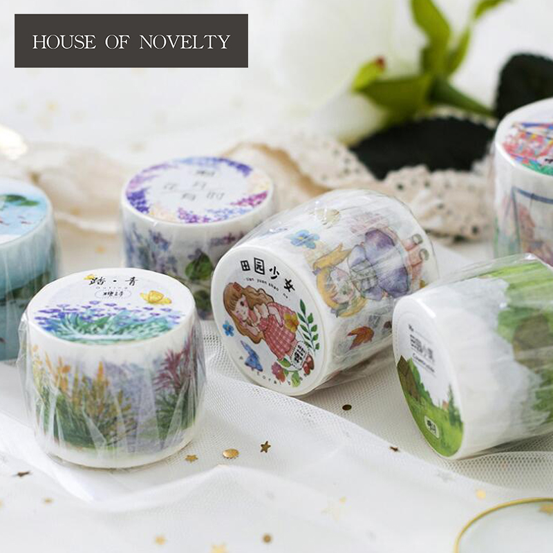Pastoral Girl Washi Tape Adhesive Tape DIY Scrapbooking Sticker Label Masking Craft Tape 2pcs original dream watercolor painting washi tape adhesive craft tape diy scrapbooking sticker masking craft tape 7m