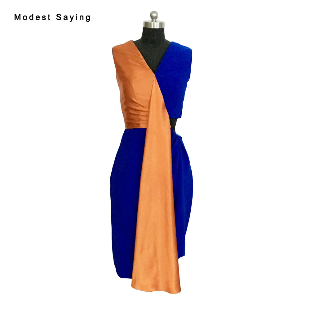 Real Phote Elegant Royal Blue and Orange Straight V Neck Cocktail Dresses 2017 with Ribbons Tea-Length Party Prom Gowns BLE125