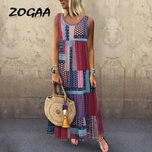 Women Boho Summer Maxi Dress Ladies Geometric Print Sleeveless Loose Casual Dresses Woman Vocation Beach Vestidos Pus Size S-5XL