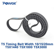 POWGE T5 סינכרוני עיתוי חגורת C = 1440/1800/3000 רוחב 10/15/20mm שיניים 288 360 600 Neoprene גומי T5X1440 T5X1800 T5X3000