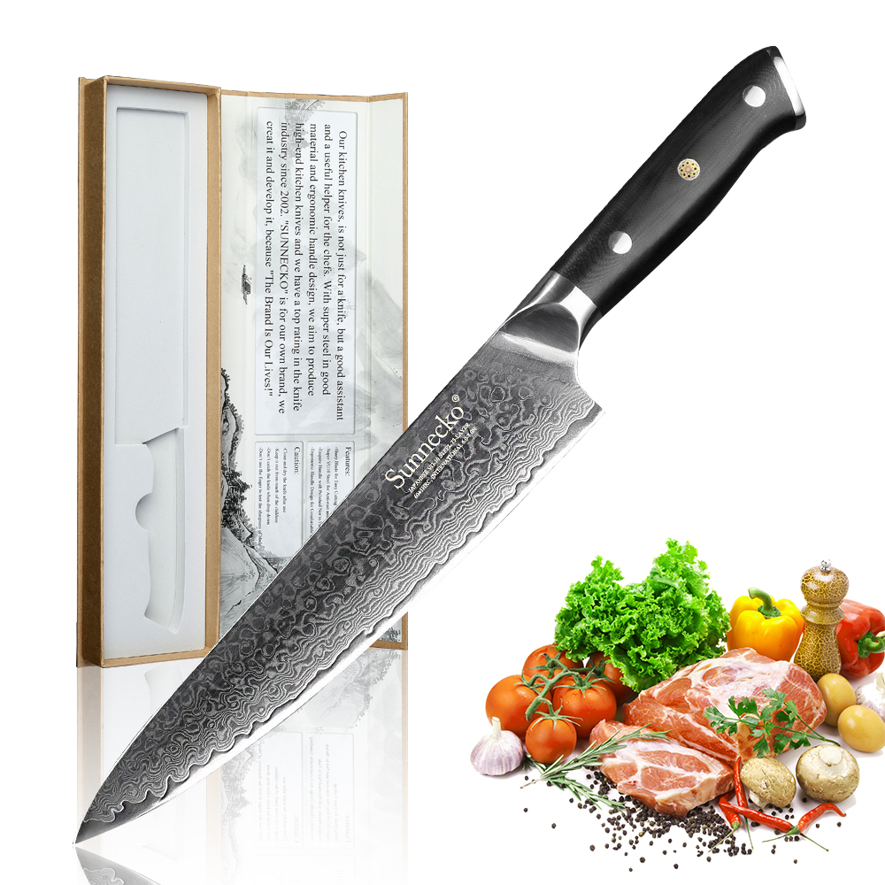 SUNNECKO 3PCS Chef Bread Utility Knife Kitchen Knives Set Japanese Damascus VG10 Steel Core G10 Handle Razor Sharp Cutting Tools-in Knife Sets from Home & Garden    2
