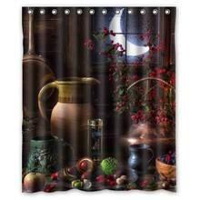 Fenster Mond Hause Dekoration Wein Glas Obst Wasserdicht Dusche Vorhang Bad  Vorhänge Hohe Qualität Bad Bade Sheer Für