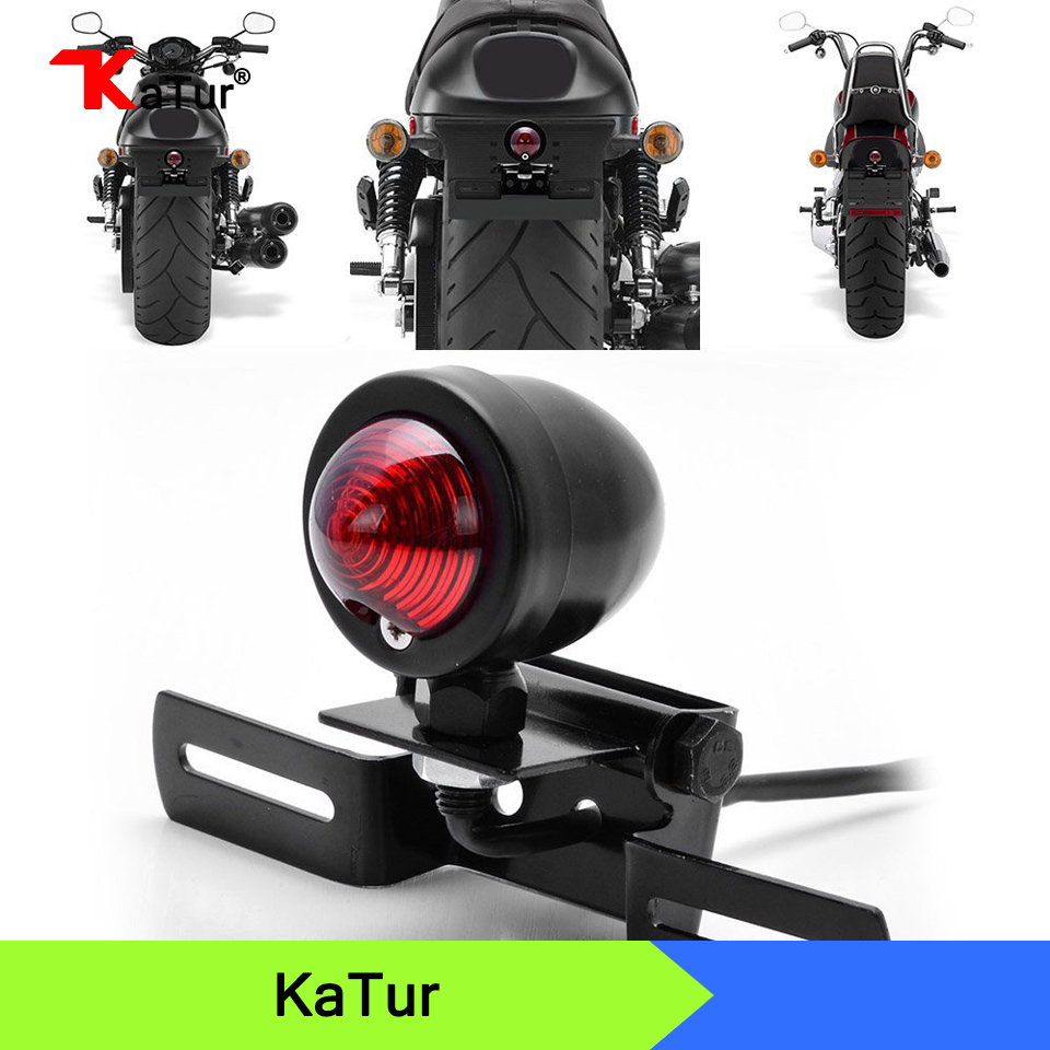 1x 12V Motorcycle Tail Light Brake With License Plate Holder Black For Harley Bobber Cafe Racer Motorcycle,Red Brake Lights