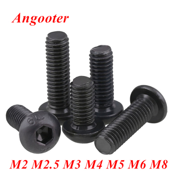 5-50pcs ISO7380 Black button head screw M2 M2.5 M3 M4 M5 M6 M8 Hexagon socket round head screws hex socket machine screw bolts image