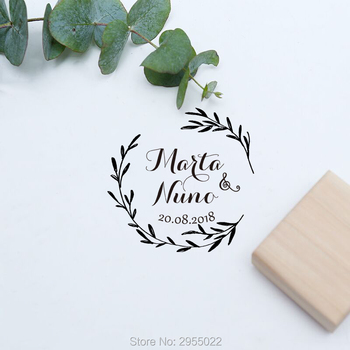 Personalized wedding leaves stamp,Custom names wood rubber stamp,Rustic Wedding love stamp self inking, initials wedding stamp фото