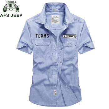 AFS JEEP Camisa masculina 2018 Summer New 100% Cotton Men Shirt Loose Men's Fashion Casual Short-sleeved Shirt Plus size 3XL 4XL