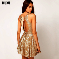 Summer 2017 Sexy Party Gold Sequin Dress Vestidos Woman Glitter Dress Sequin Dress Backless Dress Jurken