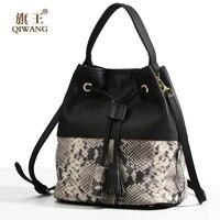 Qiwang 2017 NEW Fashion Ladies Women S Bucket Bag Genuine Leather Brand Bucket Handbag Desingers Brand