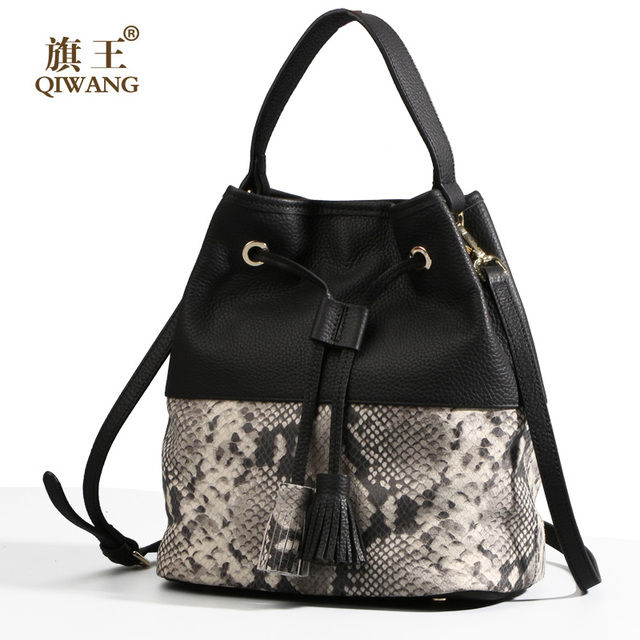Qi Fashion Women S Bucket Bag Genuine Leather For Famous Brand Snakeskin Handbag Australia Las