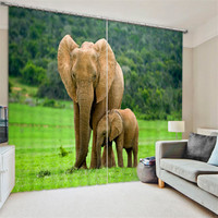 Luxury Elephant 3D Blackout Window Curtains For Living room Bedding room Drapes Cotinas para sala Decorative