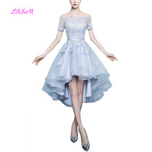 2018 New Arrival Womens Boat Neck Prom Dresses Short Sleeves Lace Appliques Bridesmaid Dress Tulle Gown Trailing Party Gowns