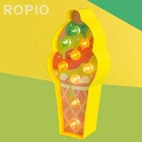 ROPIO 3D Ice Cream Cartone Luce di Notte Dell'interno Del Fumetto Decorativo Luce Al Neon Casa Living Room Decor Casa Lampada Da Tavolo|Luci notturne LED|   -