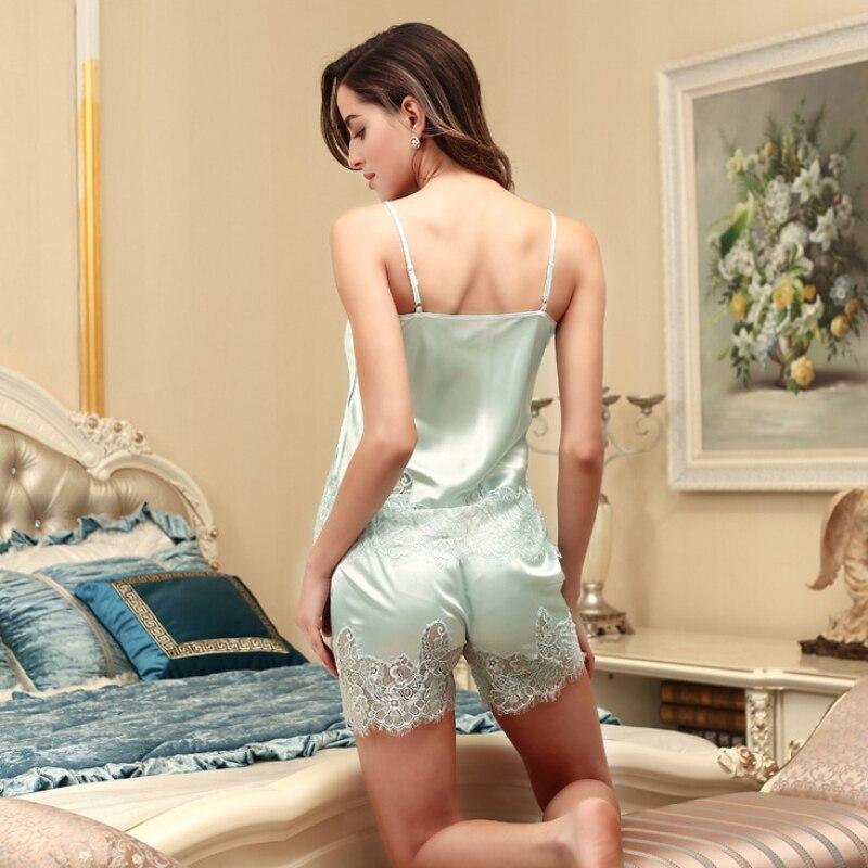 SSH0189 Sexy Lingerie Summer Sleepwear Satin Silk Lace Women   Pajama     Set   Ladies Camisole and Shorts 2 Pieces   Set   Female Nightwear