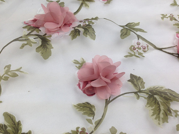 5 Yards Hot Sale Printed Organza Lace Fabric With 3d
