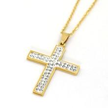 Classic Rhinestone Cross Necklaces Prayer Christ Men Jewelry Stainless Steel Men Women Free Chain