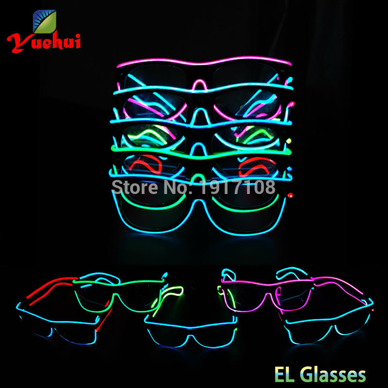 Artificial Flashing Double color Glasses Powered By DC-3V 5 Trendy style EL Wire Cold Light Tube Rope Birthday Party Decoration