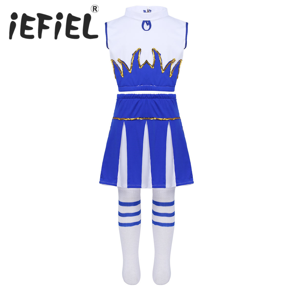 Children Kids Girls Cheerleader Costume Outfit Sleeveless Crop Top with Skirt and Socks Dancewear Set for Carnival Cosplay Party