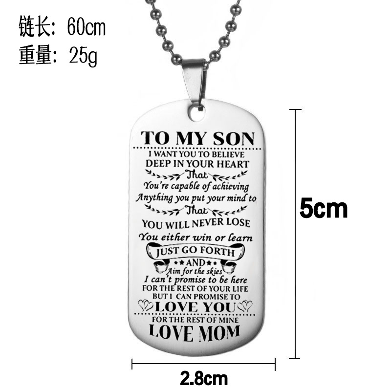 Cuteeco Dog Tags Necklaces DadMom To Sondaugthter Pendant Personalized Necklace Stainless Steel Military Dog Tag Engraving Gift in Pendant Necklaces from Jewelry Accessories