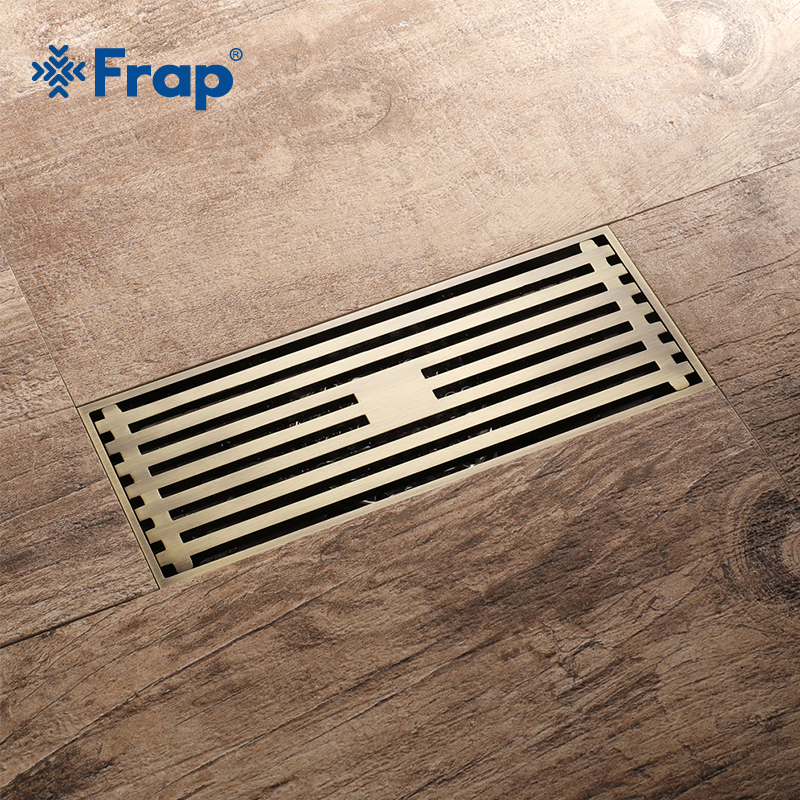 Frap 8.2*20 cm Euro Style Antique Brass Bathroom Linear Shower Floor Drain Wire Strainer Art Carved Cover Waste Drainer Y38072 furla ek08 indaсo petalo pinky