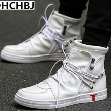 Hip hop danza hombres blanco de cuero suave zapatos de moda top hombres  zapatos casuales transpirable 299a9420054