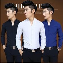 2016 hot summer fashion V neck white shirt male solid color high quality hotel waiter Slim